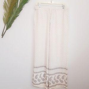 H&M White Black Paisly Print Loose Beach Pants